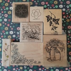 Set of 7 floral rubber stamps